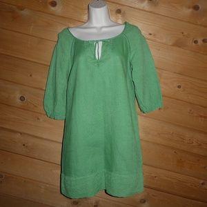 Juicy Couture Green 100% Linen Keyhole Mini Dress